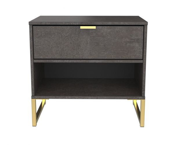 Welcome Furniture Diego Pewter Finish Double 1 Drawer Locker with Gold Metal Legs