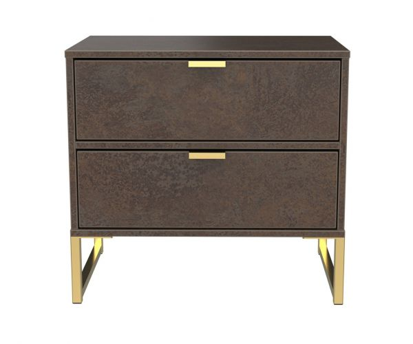 Welcome Furniture Diego Copper Finish Double 2 Drawer Locker with Gold Metal Legs