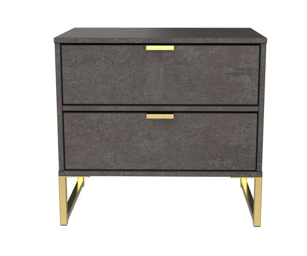 Welcome Furniture Diego Pewter Finish Double 2 Drawer Locker with Gold Metal Legs