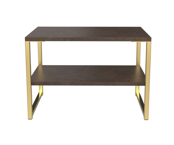 Welcome Furniture Diego Copper Finish Lamp Table with Gold Metal Legs