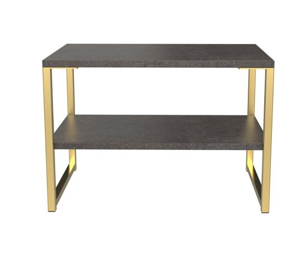 Welcome Furniture Diego Pewter Finish Lamp Table with Gold Metal Legs