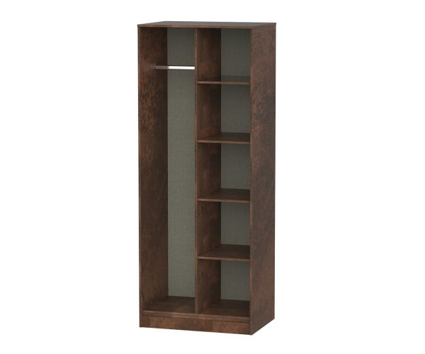 Welcome Furniture Diego Copper Finish Open Shelf Wardrobe with Gold Metal Legs