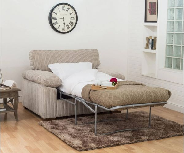 Buoyant Upholstery Dexter Fabric Chair Sofa Bed 80cm with Deluxe Mattress