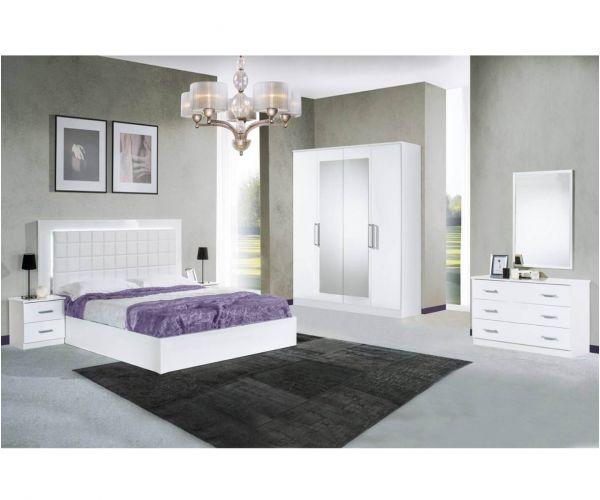 Dima Mobili Luna White Bedroom Set with 4 Door Wardrobe