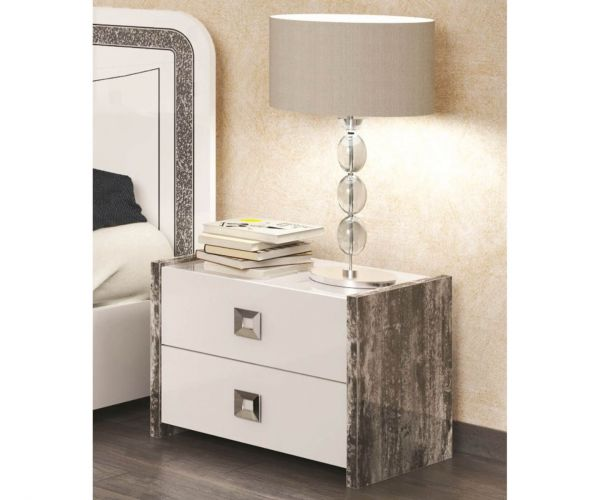 SM Italia Dillon White 2 Drawer Bedside Table