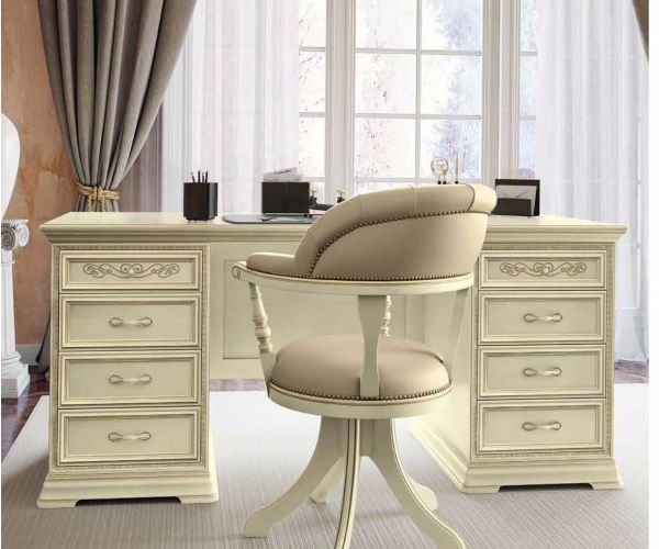 Camel Group Torriani Ivory Finish Large Writing Desk with Drawer