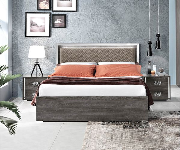 MCS Dover Grey Finish Italian Storage Bed Frame