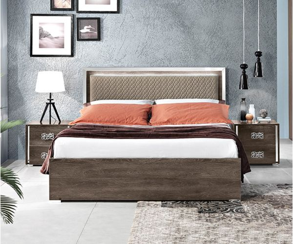 MCS Dover Brown Finish Italian Storage Bed Frame