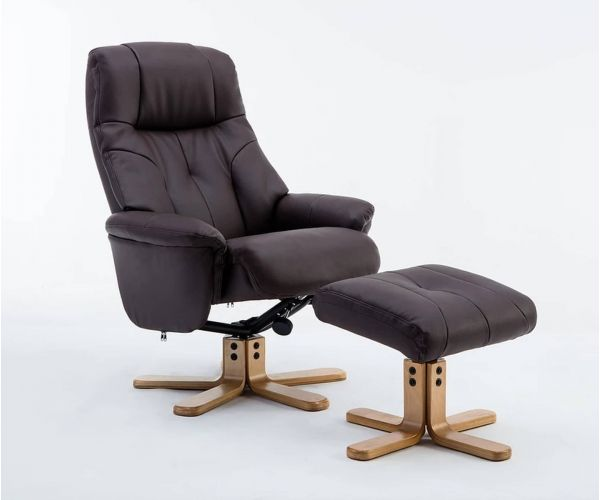 GFA Dubai Brown Plush Swivel Recliner Chair with Footstool