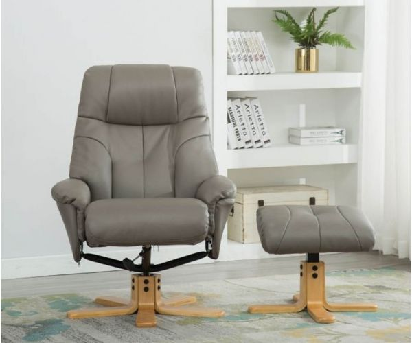 GFA Dubai Grey Plush Swivel Recliner Chair with Footstool