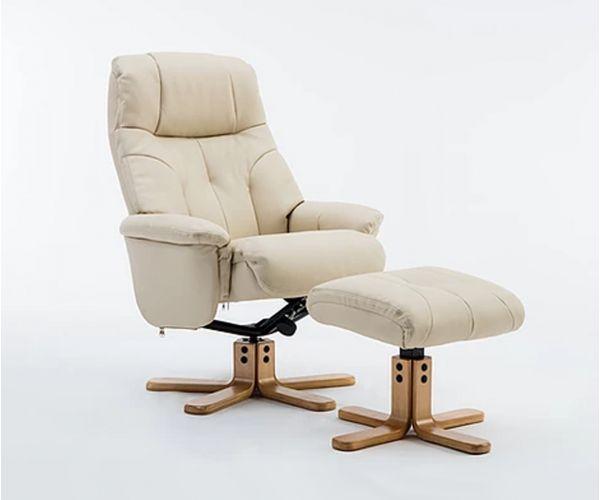 GFA Dubai Cream Plush Swivel Recliner Chair with Footstool