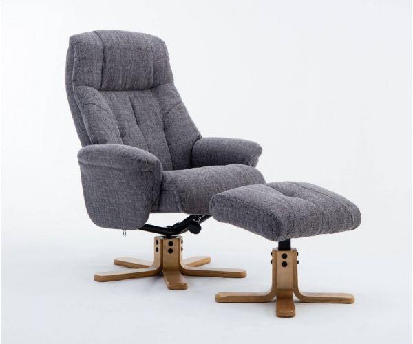 GFA Dubai Lisbon Grey Fabric Swivel Recliner Chair with Footstool