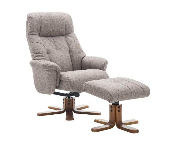 GFA Dubai Lisbon Mocha Fabric Swivel Recliner Chair with Footstool