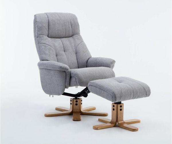 GFA Dubai Lisbon Silver Fabric Swivel Recliner Chair with Footstool