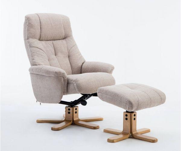 GFA Dubai Lisbon Wheat Fabric Swivel Recliner Chair with Footstool