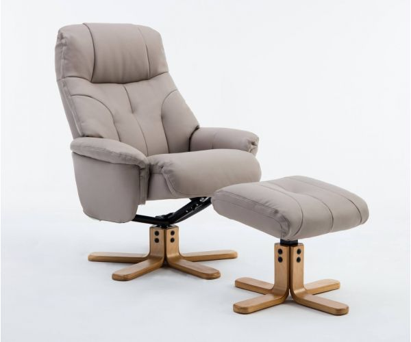 GFA Dubai Pebble Plush Swivel Recliner Chair with Footstool