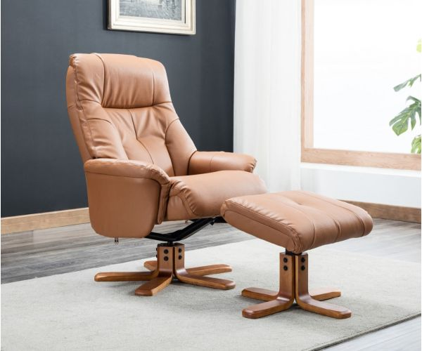 GFA Dubai Tan Plush Swivel Recliner Chair with Footstool