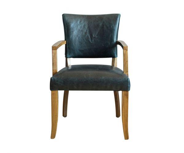 Vida Living Duke Ink Blue Leather Dining Armchair in Pair