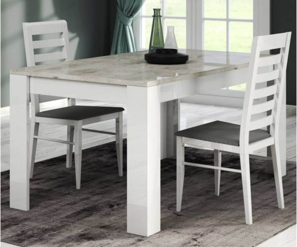 SM Italia Doyline Fixed Top Dining Table with 4 Wooden Chairs