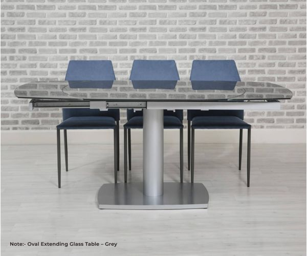 Furniture Line Eclipse Grey Oval Extending Glass Dining Table only