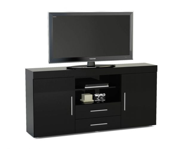 Birlea Furniture Edgeware Black 2 Door 2 Drawer Sideboard