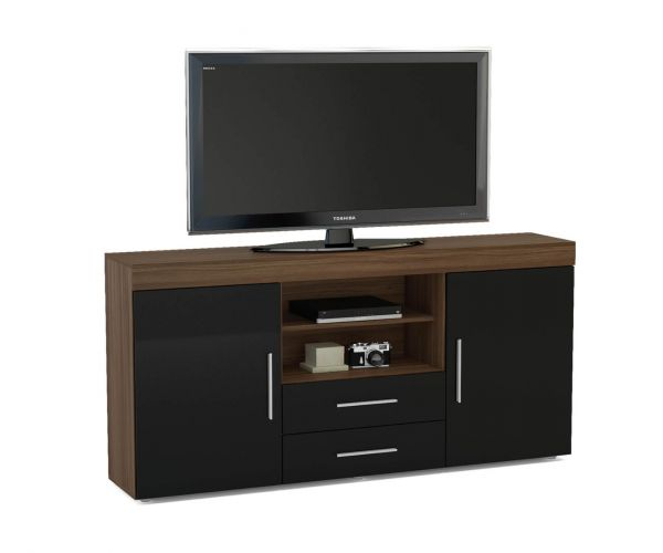 Birlea Furniture Edgeware Walnut and Black 2 Door 2 Drawer Sideboard
