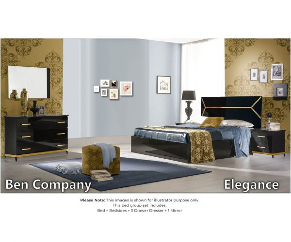 Ben Company Elegance Black and Gold Finish Italian Bed Group Set