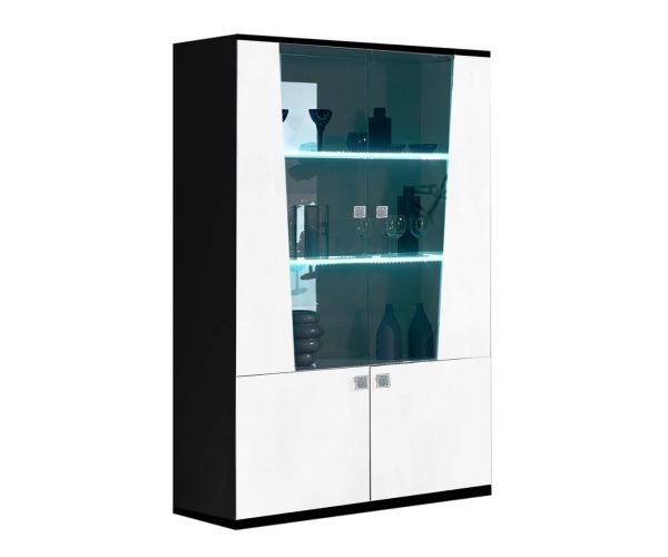 Ben Company Elisa White and Black Italian 2 Door Display Cabinet