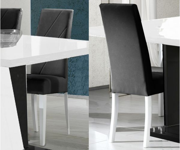 Ben Company Elisa White and Black Italian Dining Chair