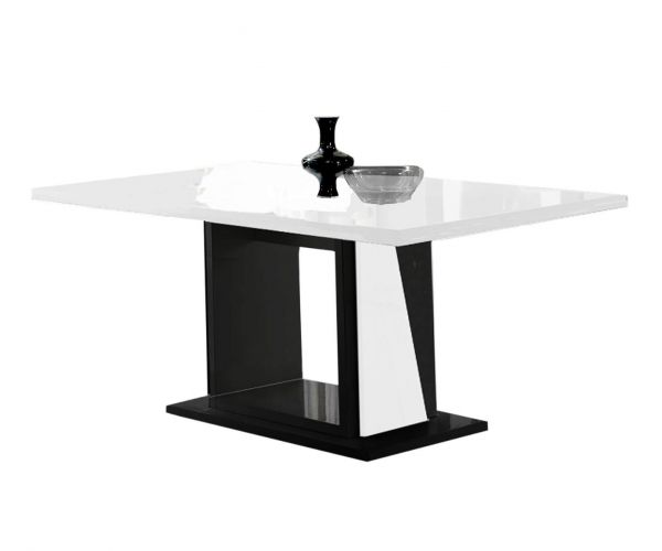 Ben Company Elisa White and Black Italian Extension Dining Table