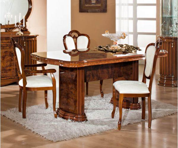 H2O Design Elizabeth Walnut Radica Italian Rectangular Extending Dining Table Only
