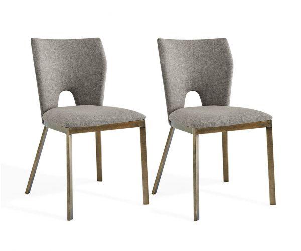 Derrys Furniture Ella Beige Linen with Brass Dining Chair in Pair