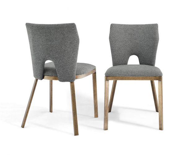Derrys Furniture Ella Grey Linen with Brass Dining Chair in Pair