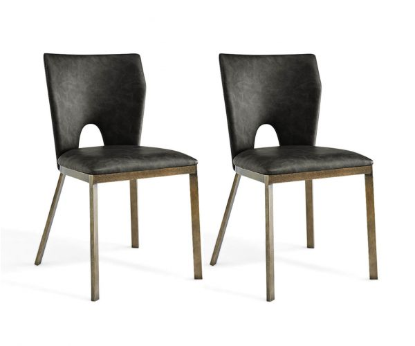 Derrys Furniture Ella Vintage Grey Faux Leather with Brass Dining Chair in Pair