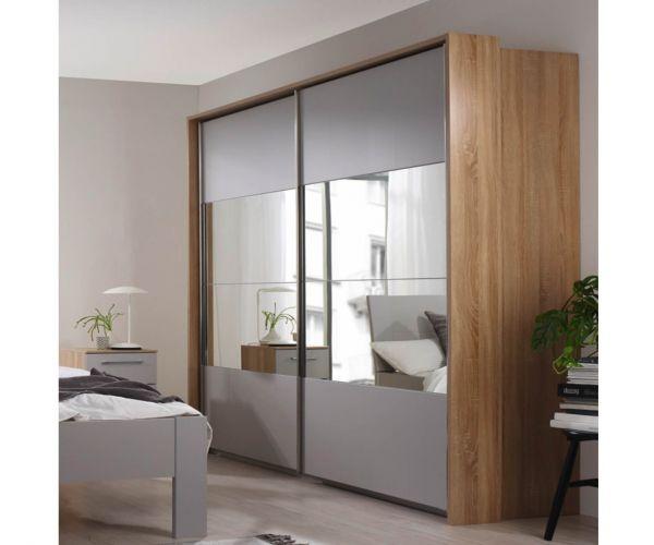 Rauch Ellesse Alpine White Carcase with Silk Grey Front Wide 2 Sliding Door 1 Mirror Wardrobe (W271cm)