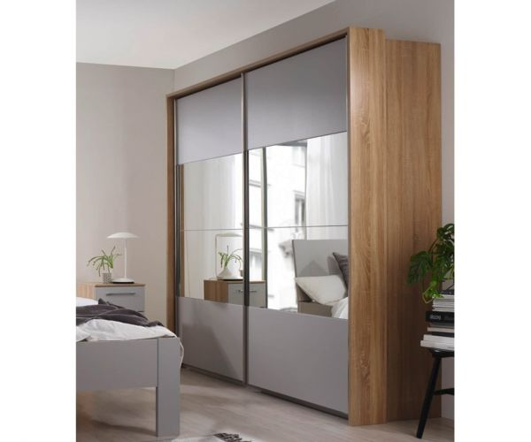 Rauch Ellesse Silk Grey Carcase with Sonoma Oak Colour Front Wide 2 Sliding Door 1 Mirror Wardrobe (W226cm)