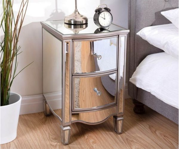 Birlea Furniture Elysee Mirrored Glass 2 Drawer Bedside Cabinet
