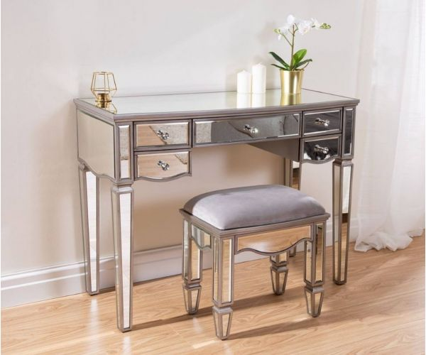 Birlea Furniture Elysee Mirrored Glass 5 Drawer Dressing Table