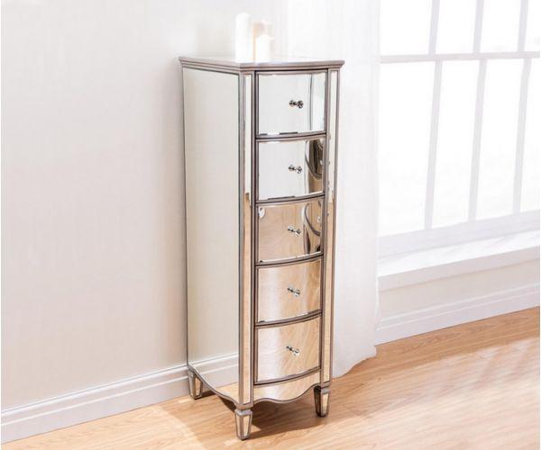 Birlea Furniture Elysee Mirrored Glass 5 Drawer Narrow Chest