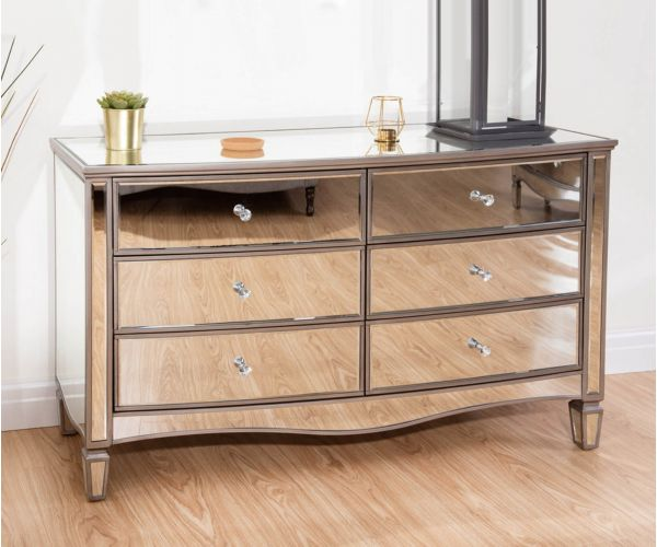 Birlea Furniture Elysee Mirrored Glass 6 Drawer Wide Chest