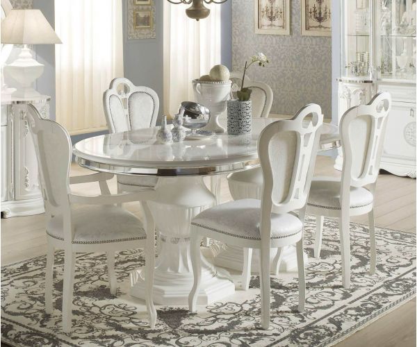 Tuttomobili Greta White Finish Oval Extension Dining Table with 6 Chairs