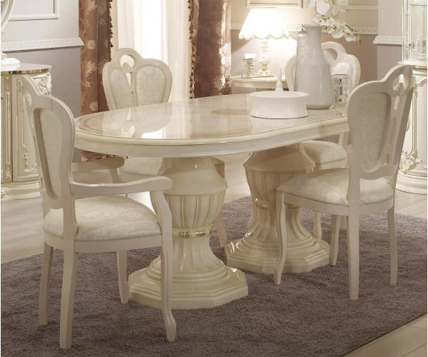 Tuttomobili Greta Beige Finish Oval Extension Dining Table with 6 Chairs