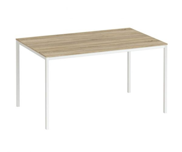 FTG Family Dining Table 140cm Oak Table Top with White Legs