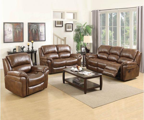 Annaghmore Farnham Power Tan Leather Air Fabric Recliner 3+2 Sofa Suite