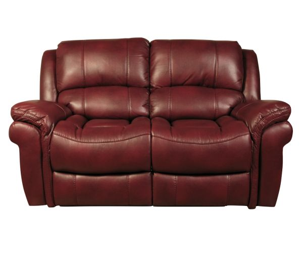 Annaghmore Farnham Burgundy Leather Air Fabric Recliner 2 Seater Sofa