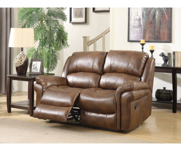 Annaghmore Farnham Tan Leather Air Fabric Recliner 2 Seater Sofa