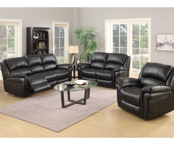Annaghmore Farnham Black Leather Air Fabric Recliner 3+2 Sofa Suite
