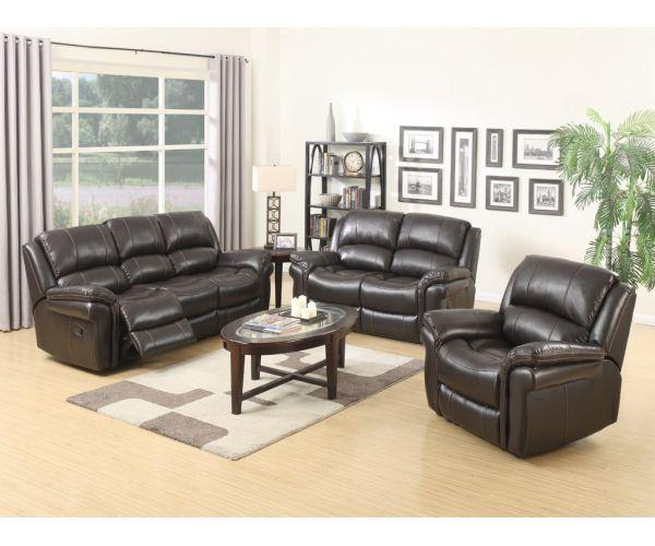 Annaghmore Farnham Brown Leather Air Fabric Recliner 3+2 Sofa Suite