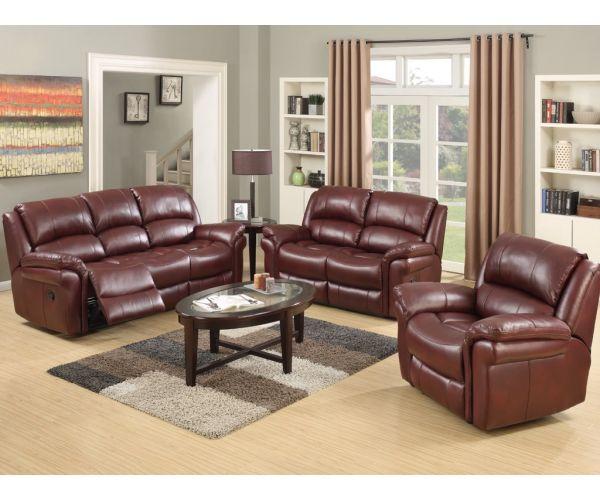 Annaghmore Farnham Burgundy Leather Air Fabric Recliner 3+1+1 Sofa Suite