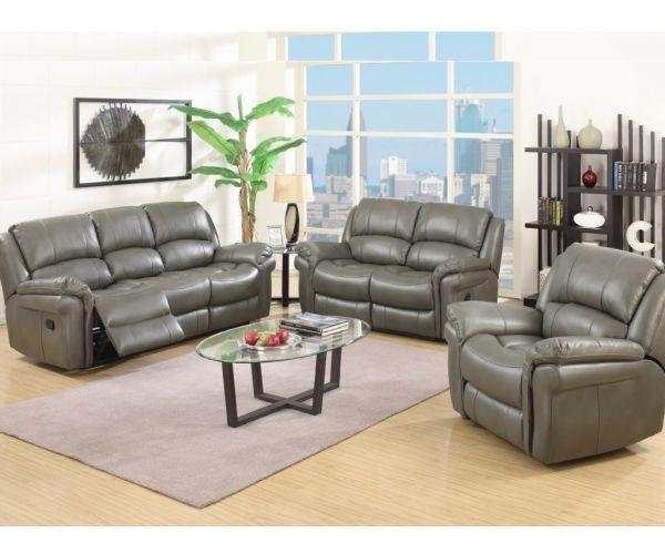 Annaghmore Farnham Grey Leather Air Fabric Recliner 3+2 Sofa Suite